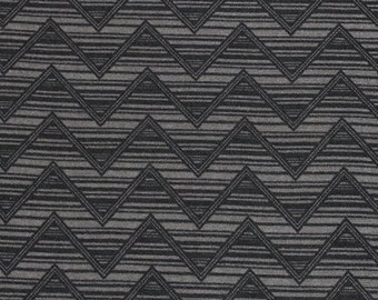 Charcoal Grey and Black Chevron Jersey Knit Fabric Sold by the Yard 5120