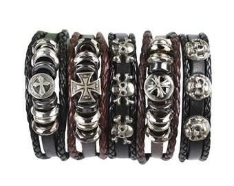 5 Piece Handmade Leather Bracelet Set Men's Women's Bangles Braided Wrap Braclet   5P-394
