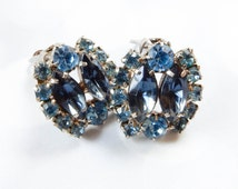 Vintage Blue Rhinestone Earrings - Something Blue - Bridal Earrings - 1950s Jewelry - Vintage Wedding- Gift For Her - Rhinestone Jewelry