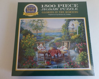 """New and Factory Sealed - Vintage 1997 Bits & Pieces 1500 Piece """"Glories In The Morning"""" Jigsaw Puzzle"""