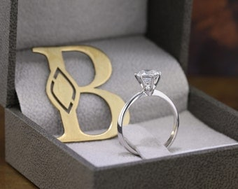 Diamond Engagement Ring 1 Carat Diamond with White Gold Band Engagement Gift For Her  Diamond Gold Ring, FREE SHIPPING