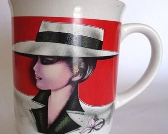 Totally chic 1980s lady vintage ceramic mug - made in Korea.