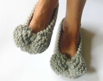 GRAY Wool Women's Slippers - Nonslip Chunky Slippers - Wedding Dance flats - Home shoes - Knit slippers - Home Flats - READY to ship