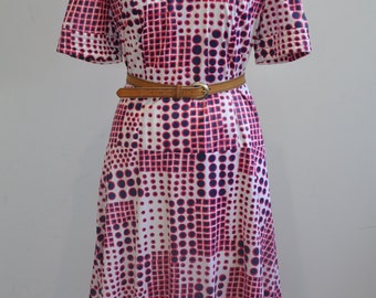 Mint Condition 1970's Spots and Squares Dress