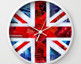 Union Jack British flag wall clock, Patriotic decor, decorative clock, mixed media collage art, colorful clock, british flag decor