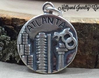 Atlanta Charm, Georgia Charm, Atlanta Pendant, Sterling Silver Atlanta Charm, Sterling Silver Charm, PS3198
