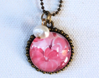 Pink Hydrangea with Pearl Bead Necklace Flower Floral Necklace Antique Brass Finish Pendant Necklace