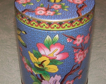Floral butterfly cherry blossom tin Made in England