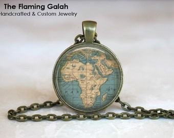 AFRICA Map Pendant • Map Of Africa • Vintage African Map • Old Map of Africa • African Continent • Gift Under 20 • Made in Australia (P0437)