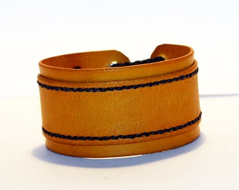 Yellow Leather Cuff Bracelet! Unique Leather Gift! Hight quality item! Yellow Bracelet! Leather Accessories!