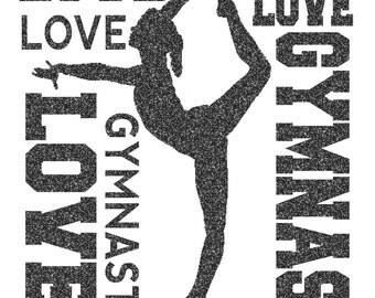 Gymnast Word Cloud Iron On Decal