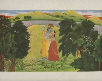 The Music of Love - Indian Miniature Painting printed reproduction, 1978