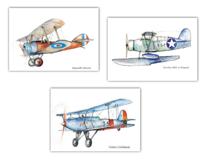 Boys airplane art Set 3 prints Aircraft Watercolor Poster Boy's art Airplane painting Aircraft artwork Retro avia Baby boy nursery wall art