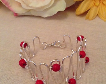 Red Turquoise  Wavy Cuff