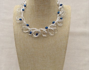 Silver Wire  and  Vibrant Blue Crystal Necklace