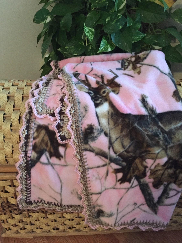 Pink Camo Fleece Light Weight Baby Blanket With Hand Crochet