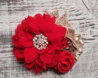 READY TO SHIP. Red and Gold Christmas Headband.  Baby's 1st Christmas Headband.