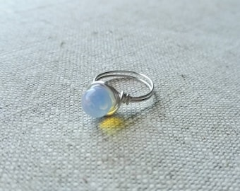 Rainbow Moonstone Wire Wrapped Ring - sized to order - June birthstone