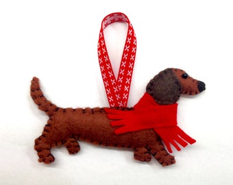 Felt Dachshund Ornament, Sausage Dog Ornament , Doxie, Wiener Dog Decoration