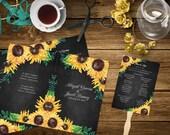 Sunflower Printable Chalkboard Wedding Program Template, Order of Service, Order of Ceremony, Wedding Party, Program Fan, Ceremony Program