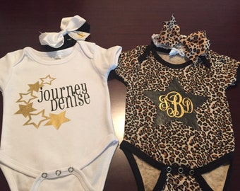 Set of Personalized Onesies w/ Bows or Hats