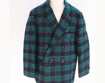 Toddler Boy Plaid Wool Blazer Jacket 12-18 months TFW KIDZ