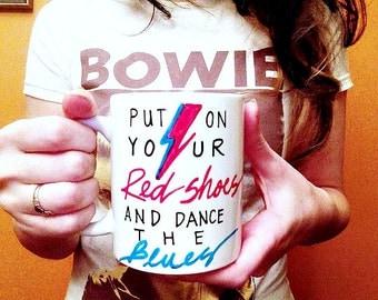 David Bowie Let's Dance Coffee Mug, bowie mug, lightening bolt, music mug, lyrics mug, ziggy stardust, gift