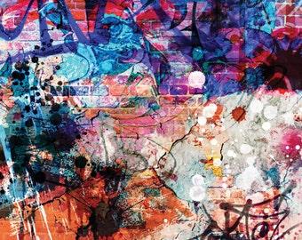 3x4 Abstract Photo Backdrop of Graffiti on Brick - FabVinyl 3x4ft (FV3038)