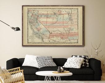 1862 Us Southwestern States California Map Vintage California Map Home Decor Reprint 4