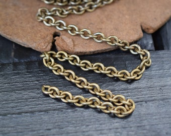 Vintage UnSoldered Solid Brass Cable Chain, 3 feet