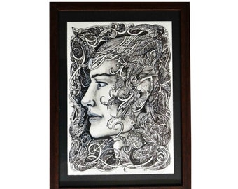 Original illustration, framed illustration - Portrait of an elf, elven drawing, original art