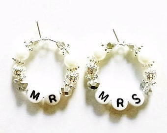 Mum and Dad wine glass charms~silver wedding~golden wedding~ruby wedding~pearl wedding~Mr and Mrs~Anniversary wine glass charms