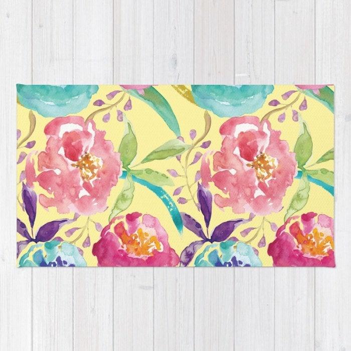 jaune tapis floral fleurs moderne impression tapis. Black Bedroom Furniture Sets. Home Design Ideas