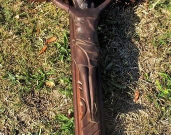 """Lovely Completely hand Carved Wood Hanging Crucifix Cross Jesus Christ 29.92"""""""