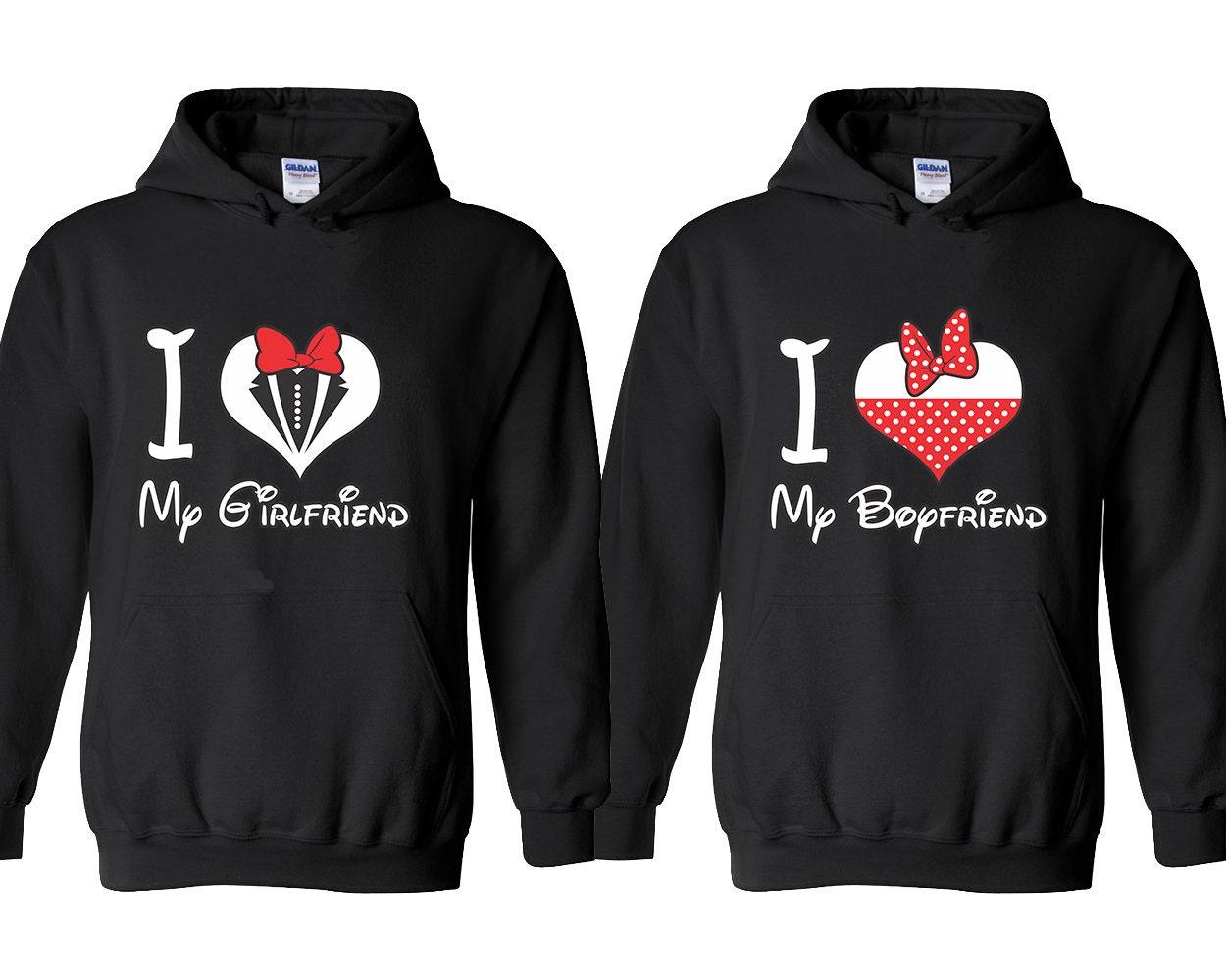 I Love My Girlfriend Boyfriend HEART Couple Hoodies Matching