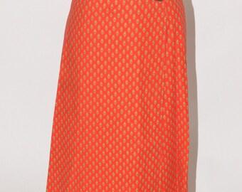 Vintage Estate Red Beige Navy Blue Wrap Skirt