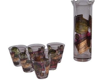 Culver Liquor Labels Pitcher Glasses  Set Vintage Estate Mid Century Modern Multicolored (8 count)