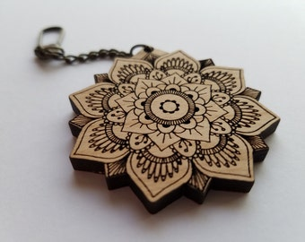Laser Cut Alder Wood Mandala Key Chain