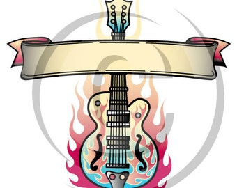 Tattoo Clip Art Clipart Guitar Flames Rock and Roll - Personal or Commercial Use Royalty Free