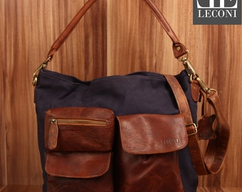 LECONI shoulder bag shoulder bag leather bag lady bag of canvas leather navy LE0039-C
