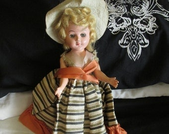Vintage Hard Plastic Bonnet Doll Open and Close Eyes