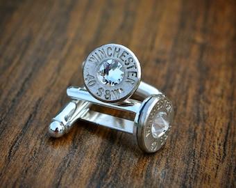 Bullet Cufflinks with Swarovski Crystal Steampunk Vintage Wedding Groom Gift Mens Retro Present