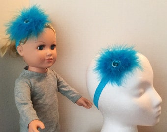Doll and Me Headbands, Feather Puff Headband, Turquoise Matching Stretch, TOP SELLER,  My Doll and Me, Headband Set, Feather Puff Set of 2