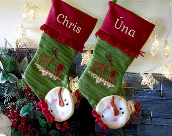 Nordic Snowman Personalized Christmas Stockings Embroidered with names