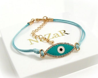 Blue String Evil Eye Bracelet - Blue and Rose Gold Tone Bracelet with CZ Evil Eye Charm - Evil Eye bracelet arrives in a white gift box!