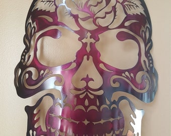 """Large steel sugarskull with rose, """"MADE TO ORDER"""""""