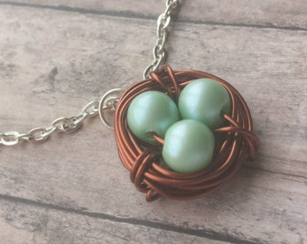 grandma necklace, Copper Bird nest, copper nest necklace, mothers necklace, gift mom, bird nest necklace, gift for mom, bird nest pendant,