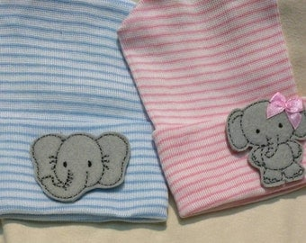 2 ELEPHANT Newborn Hospital Hats! 2 HATS Twin Babies 1st Keepsakes! One Boy and One Girl. Newborn Baby Hats! Cute! Girl Elephant has Bow