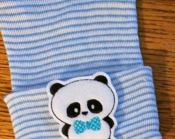 Newborn Hospital Hat. Blue Bow Panda! Newborn Beanie. Every New Baby Should Have! Adorable! Choice of hat Colors!