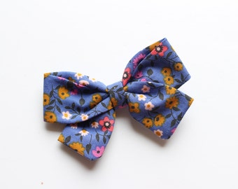 Fall Blue Floral Fabric Bow